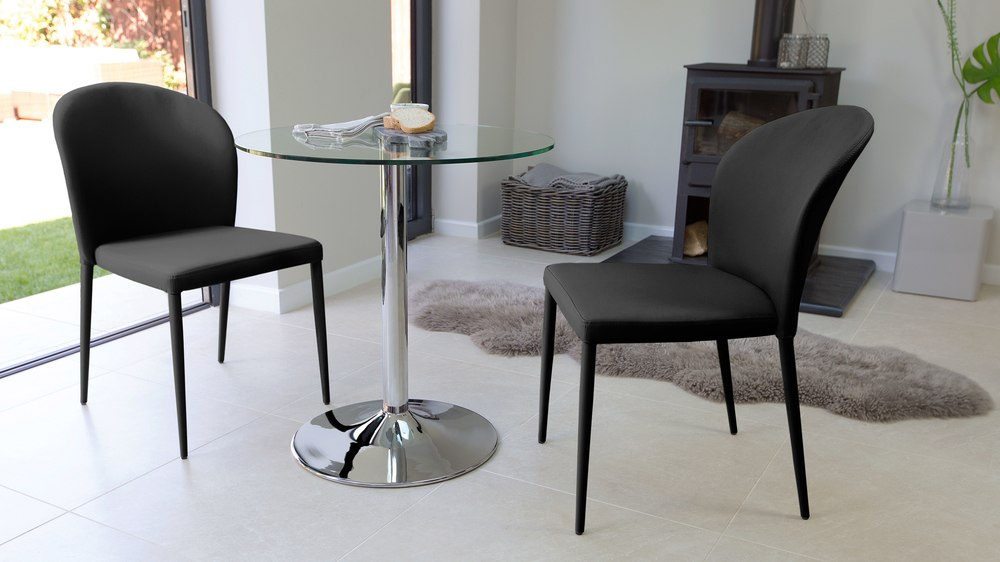 Black Faux Leather Dining Chairs and Glass Table