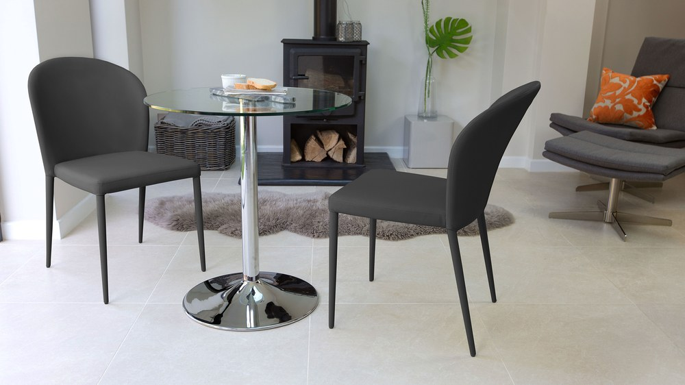 Dark Grey Dining Chairs and Round Table