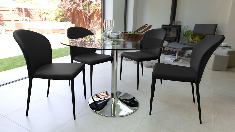 4 Seater Black Dining Set