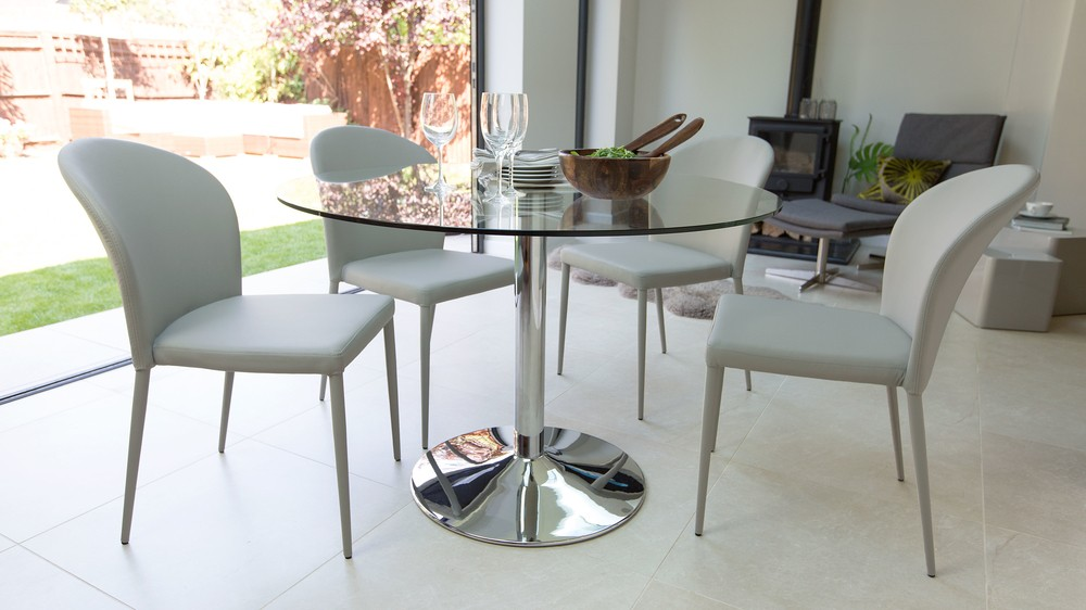 Light Grey Dining Chairs and Glass Dining Table