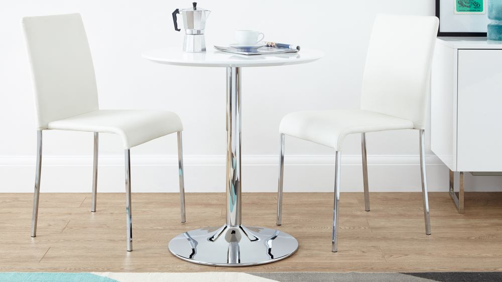 Round white gloss 2 seater dining table pedestal base uk for Two seat kitchen table