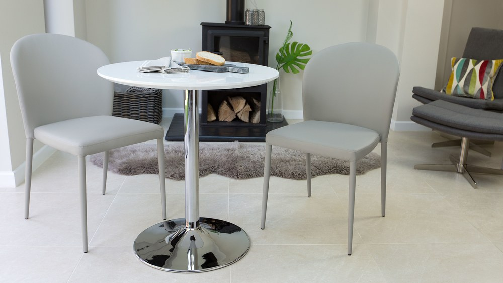 small round white gloss and chrome dining table