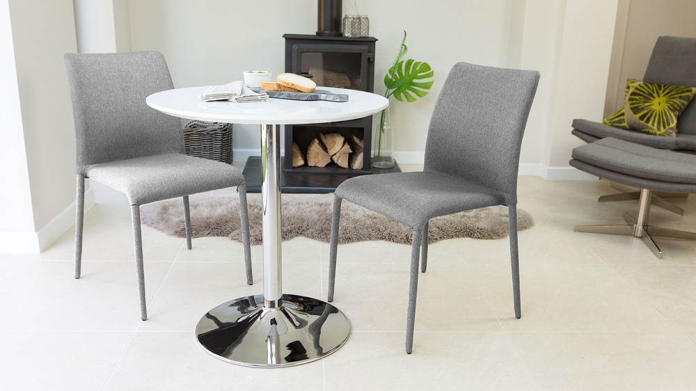 round white gloss 2 seater dining table | pedestal base | uk
