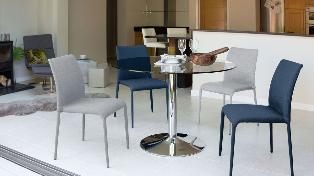 Modern Dining Chairs and 4 Seater Glass Dining Table