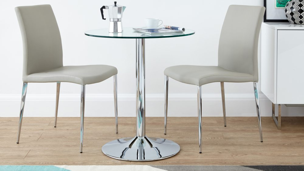 Small Glass Dining Set with Grey Dining Chairs