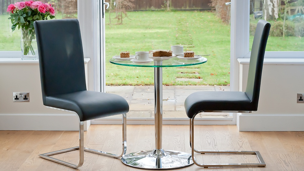 Round Glass 2 Seater Table and Cantilever Dining Chairs