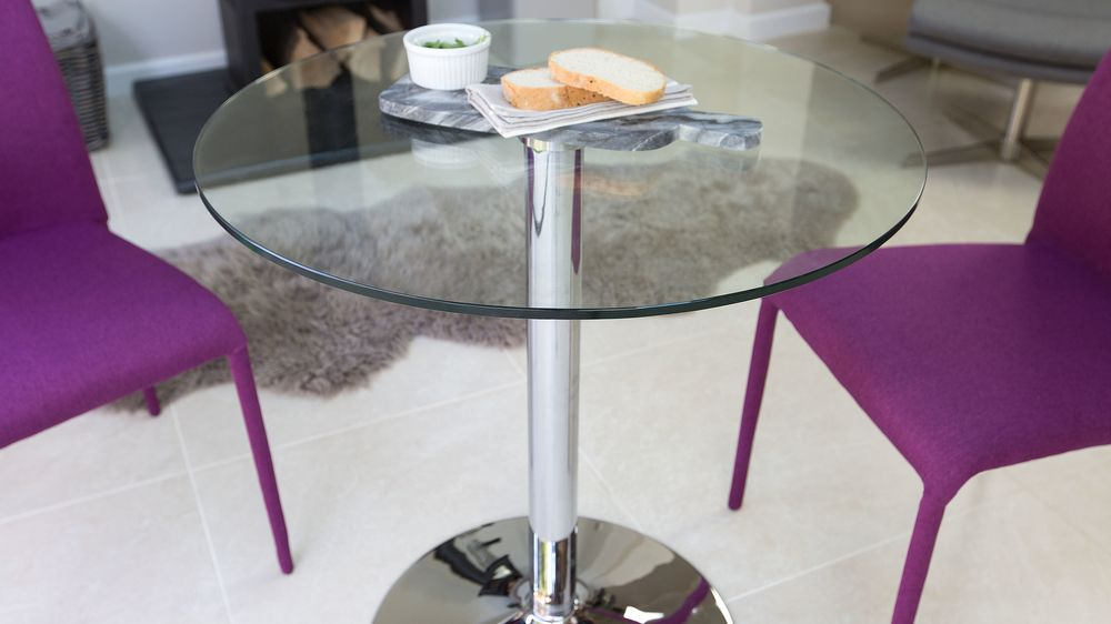 pedestal glass and chrome dining table