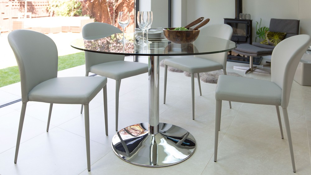 Modern round glass table chrome pedestal 4 seater table for 110cm round glass dining table