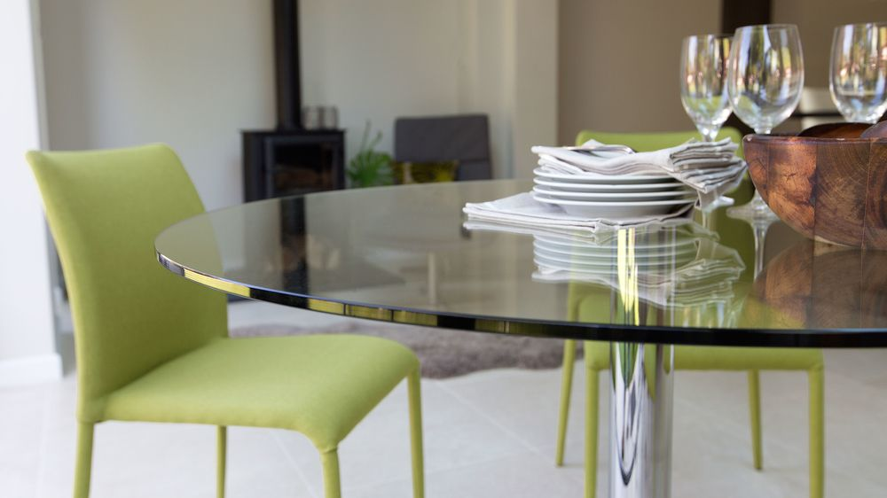 Modern Round Glass Table Chrome Pedestal Seater Table
