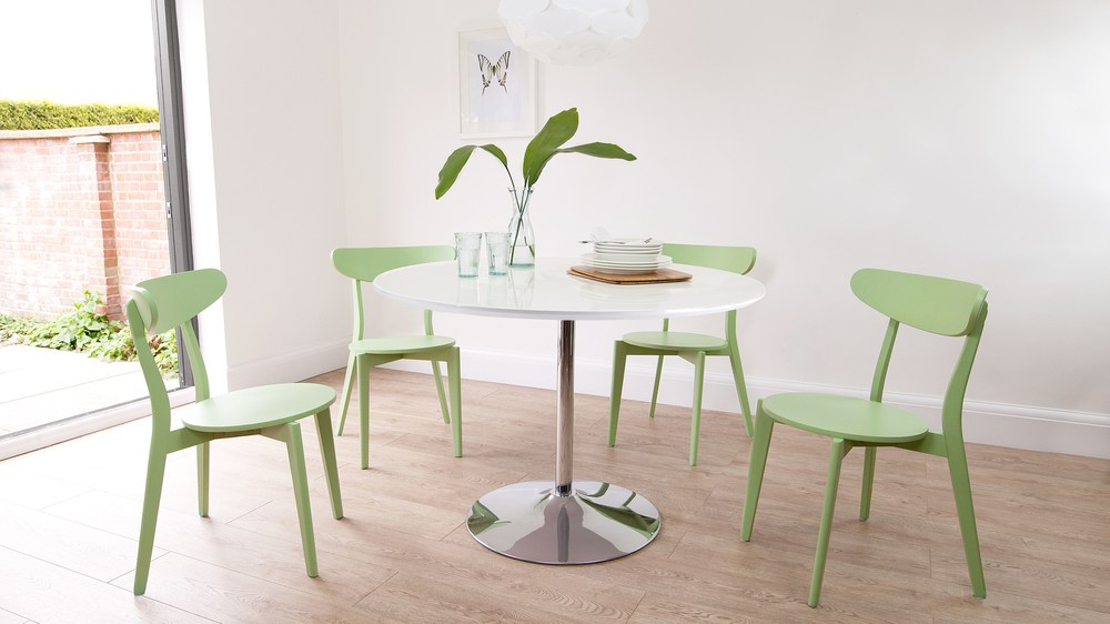 Modern 4 Seater White Gloss Dining Table Round With Quality Chairs UK