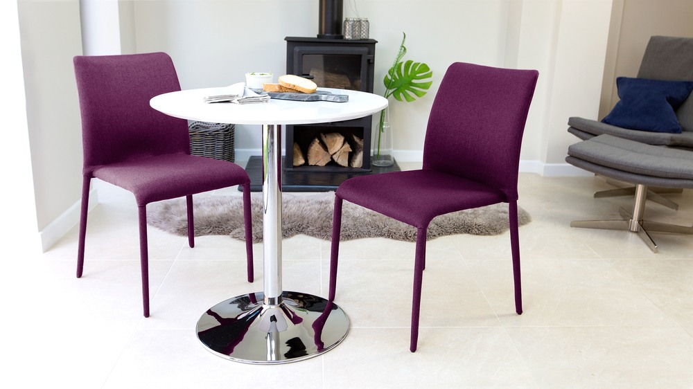 Purple and White Gloss 2 Seater Dining Set