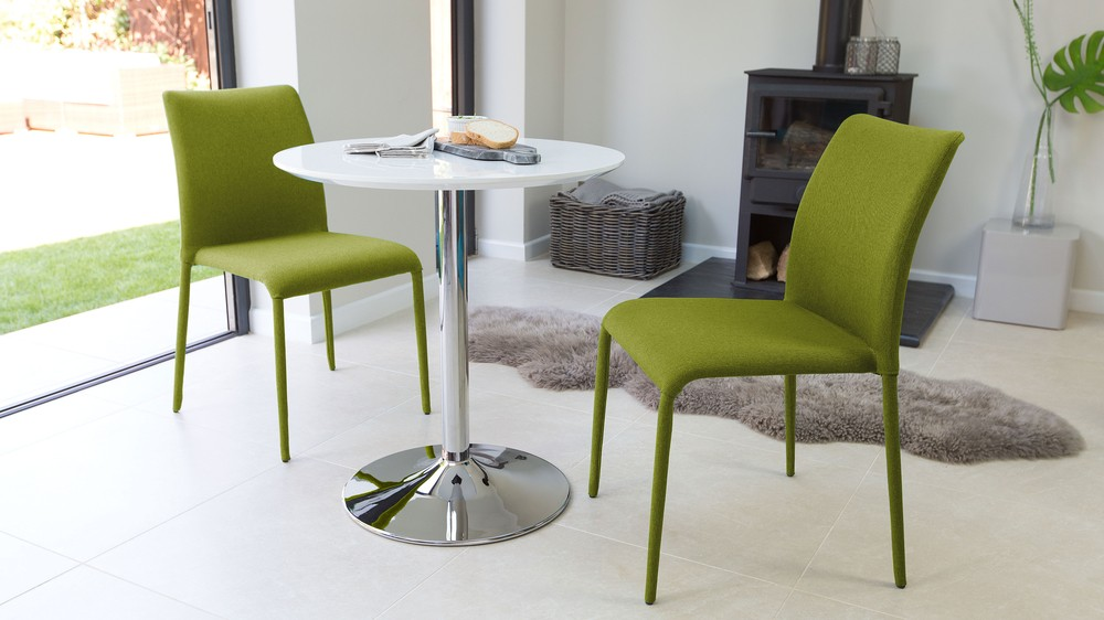 Green Dining Chairs and White Gloss Dining Table