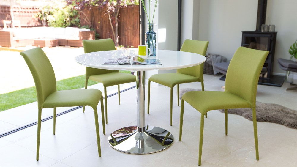 White Gloss Dining Table and Green Dining Chairs
