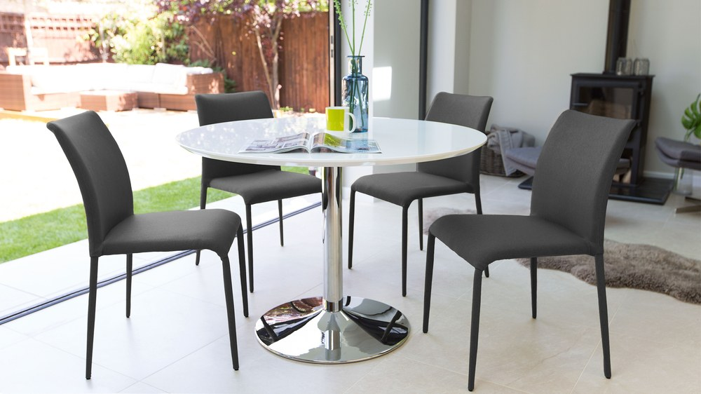 Dark Grey and White Gloss Dining Set