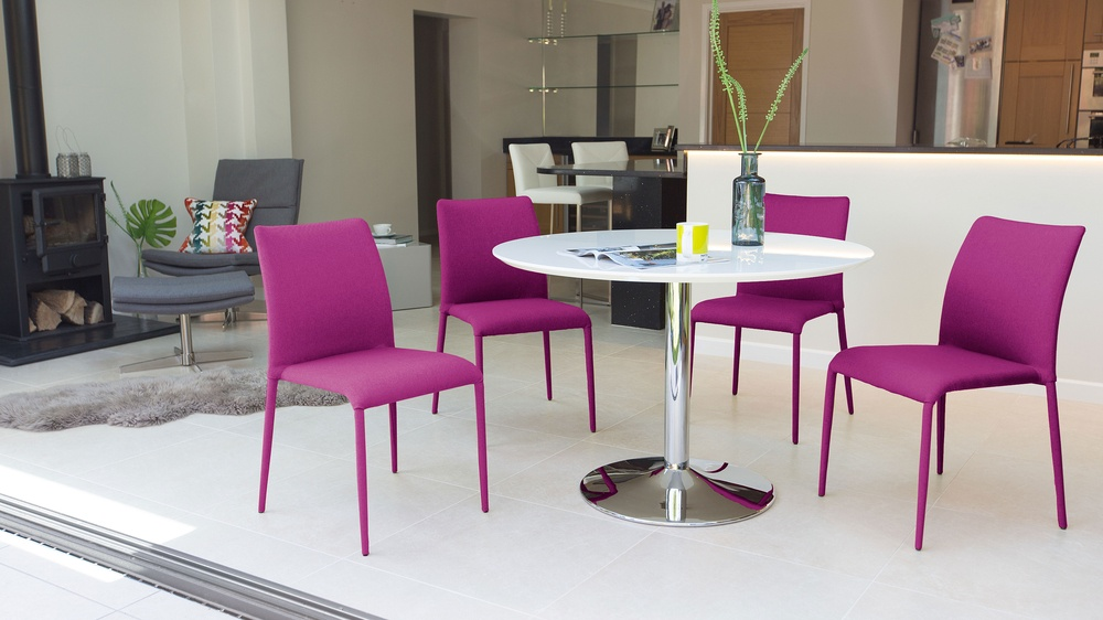Round 4 Seater Dining Table and Colourful Dining Chairs