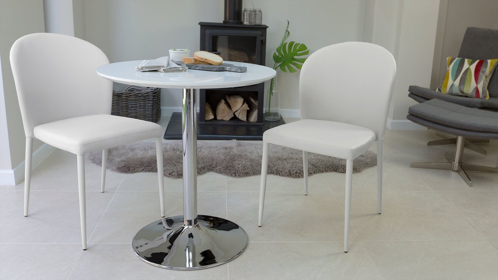 Contemporary White Gloss Small Dining Set