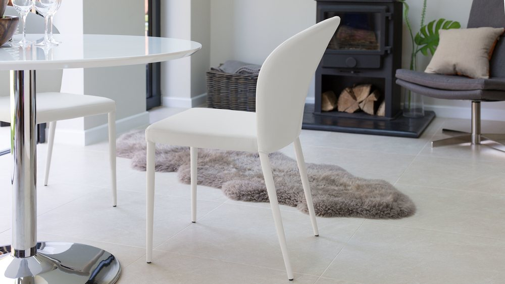 Curved Back White Dining Chairs