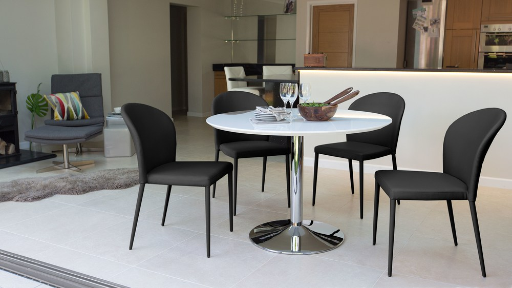 Naro And Santo White Gloss 4 Seater Dining Table And