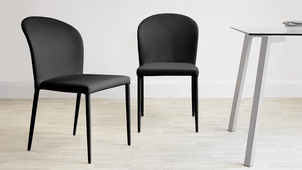 Modern Black Faux Leather Dining Chairs
