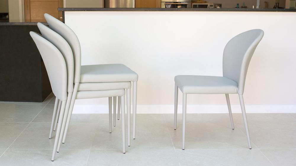 Contemporary Grey Dining Chairs that Stack