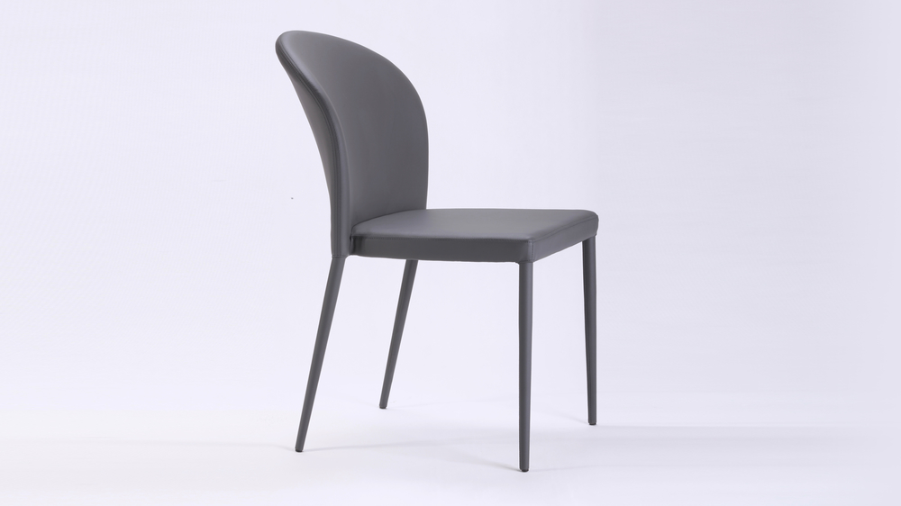 Grey Curved Back Dining Chair