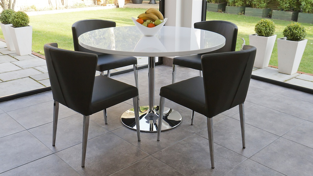 Modern Round White Gloss Dining Set