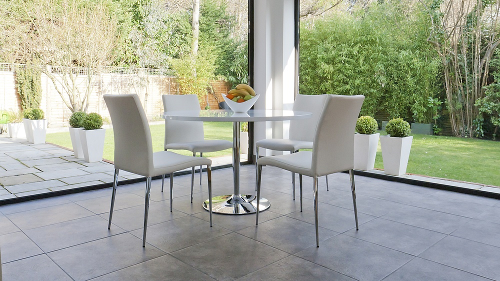 4 Seater White Gloss Dining Set