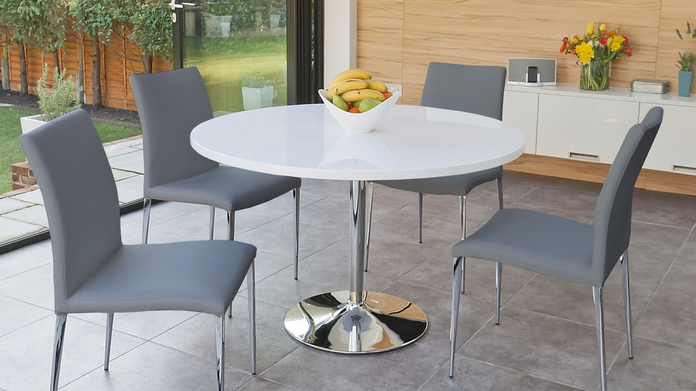 White Round Dining Table 4 Legs white gloss round table and 4 modern contemporary chairs | chrome legs