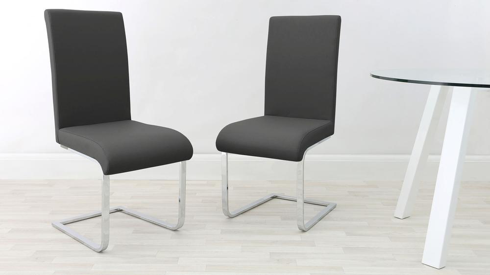 Graphite grey and chrome modern chairs