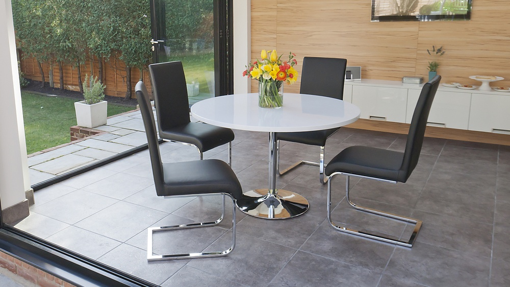 Round White Gloss Dining Table and Cantilever Dining Chairs