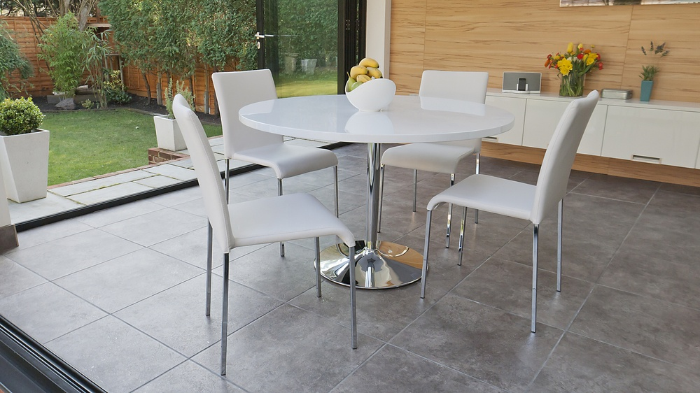 Stackable Dining Chairs and White Gloss Dining Table