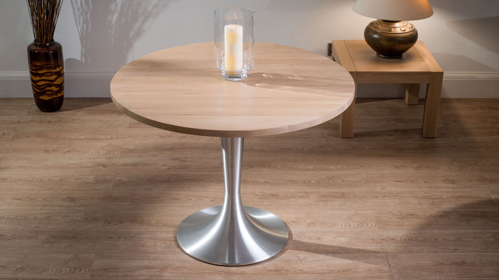 Home Tables Dining Tables Naturale Large Round Solid Washed Oak Dining