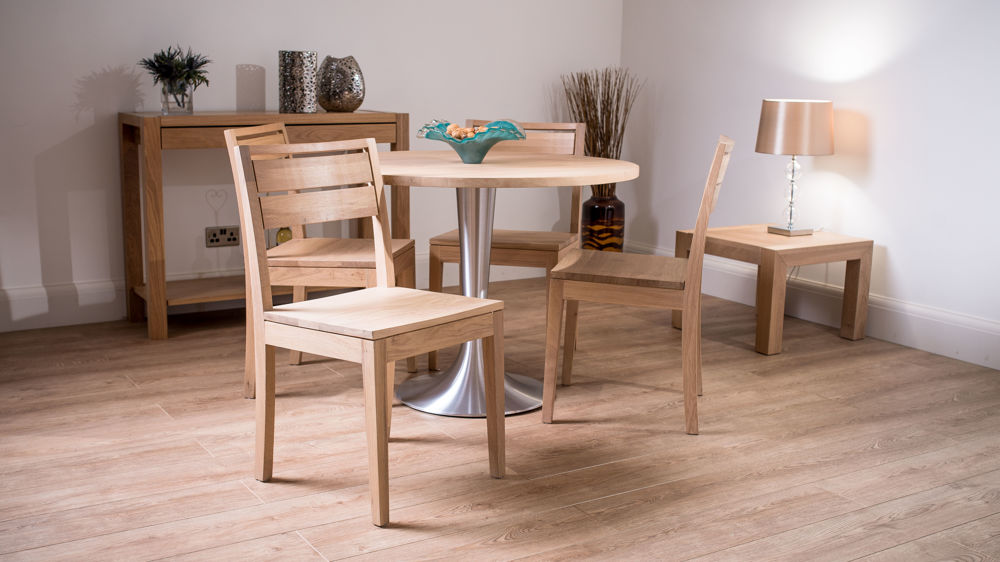 Solid washed oak round dining set for 4 funky brushed for Large round dining set