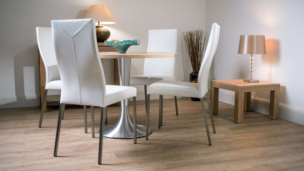 Chunky Solid Washed Oak Round Dining Table Amp 4 Real