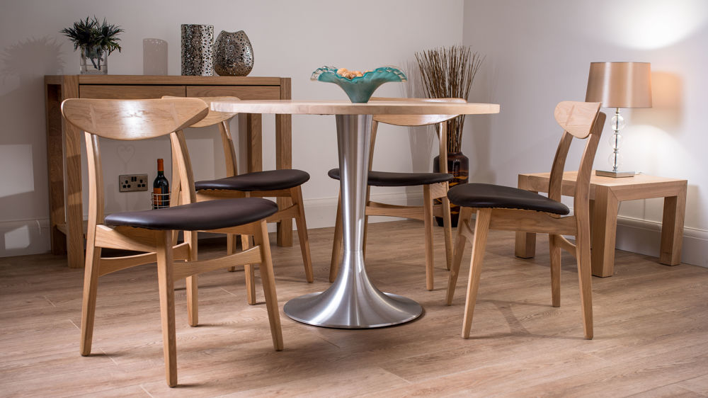 retro style round solid oak dining set for 4 brown faux leather modern washed oak dining