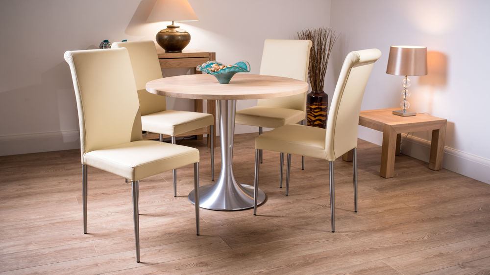Modern round 4 seater solid washed oak dining table and for Large round dining set