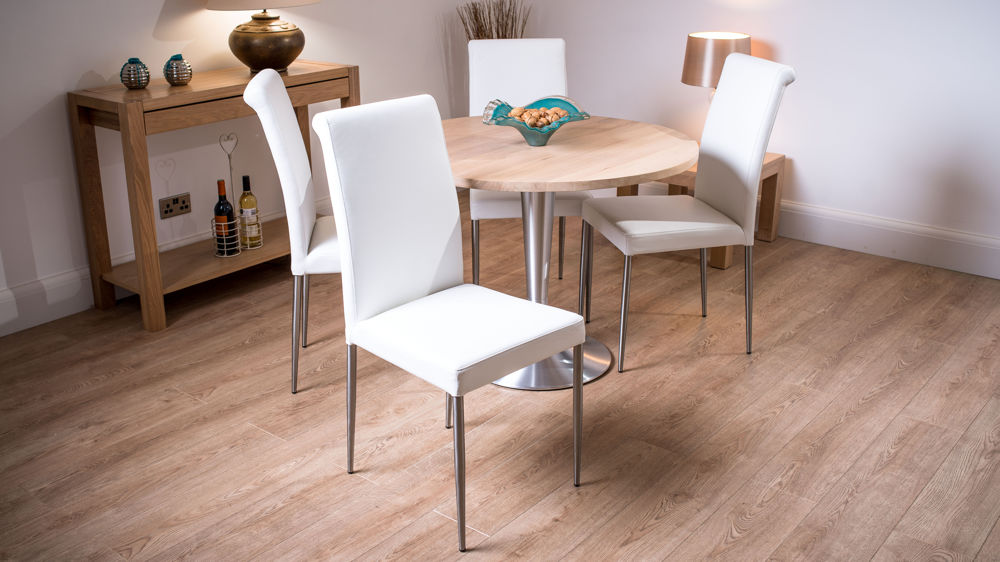 Modern Round 4 Seater Solid Washed Oak Dining Table And