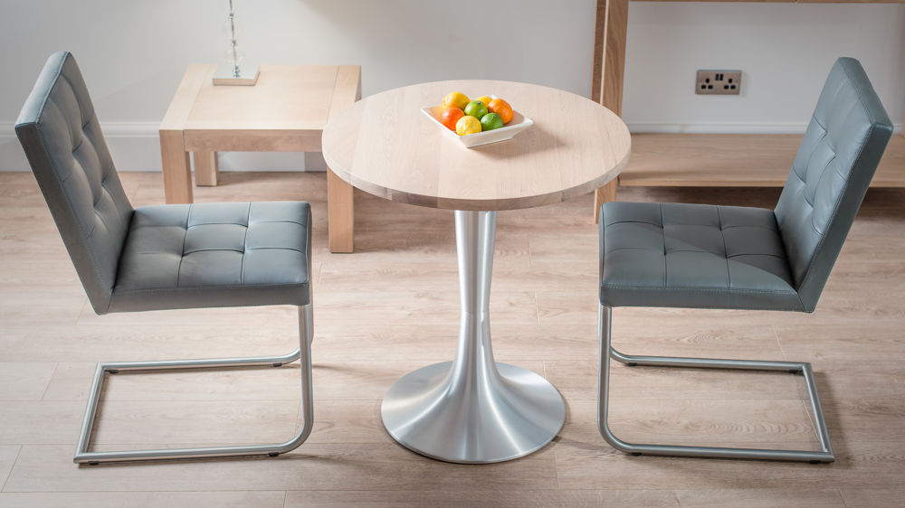 Solid Washed Oak Pedestal Dining Table Round Table for 2 Cafe