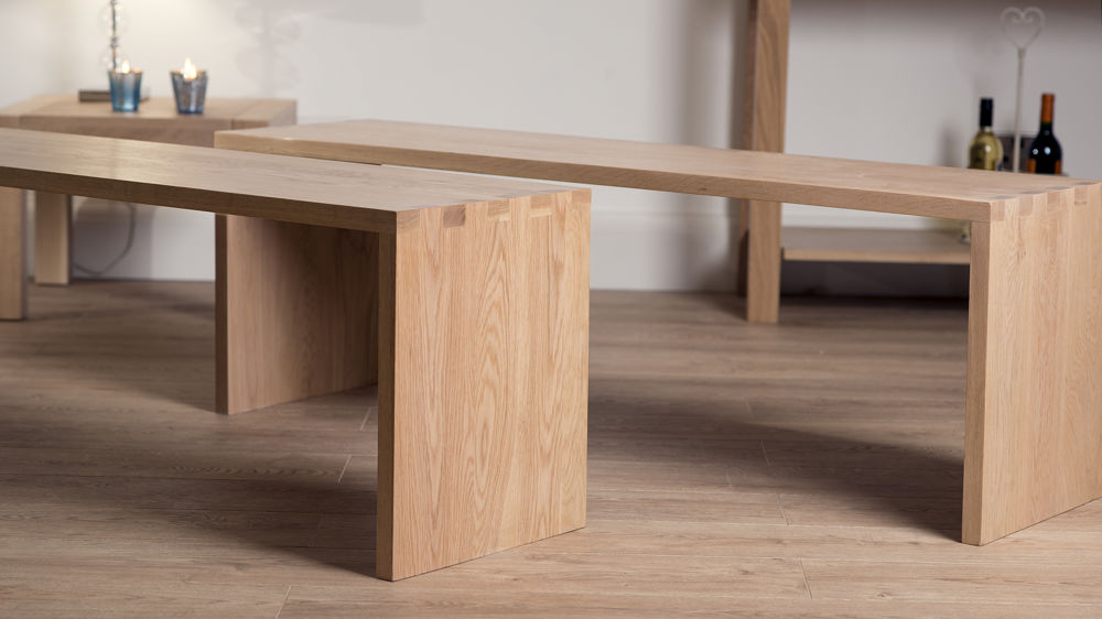 Contemporary Washed Oak Dining Benches