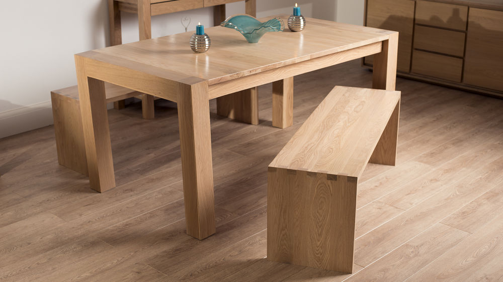 Solid Washed Oak Dining Benches