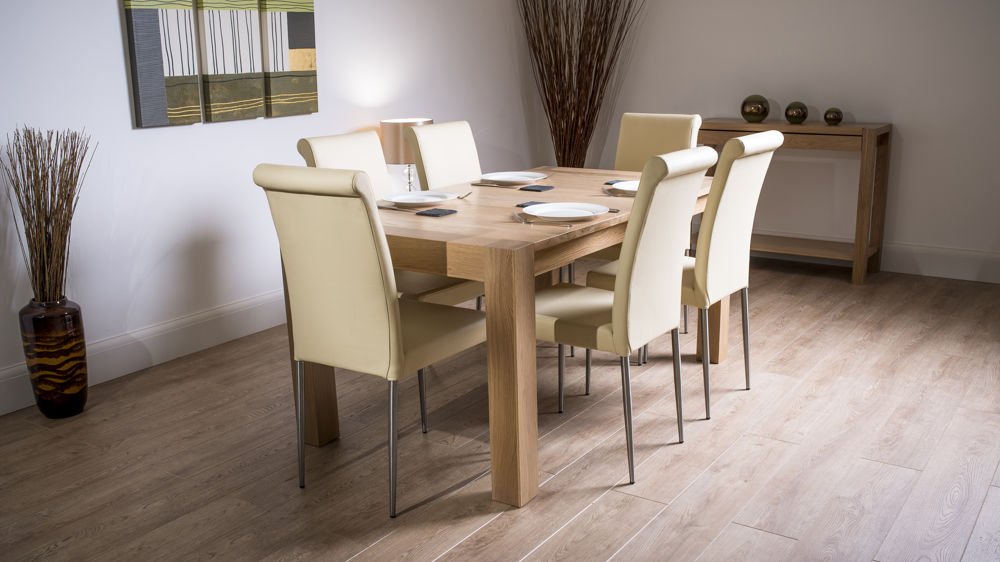 Solid Washed Oak Extending Dining Set Real Leather