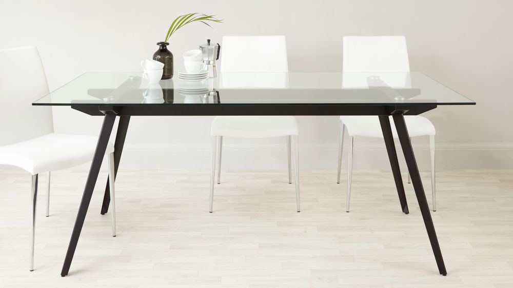 modern glass dining table seats six