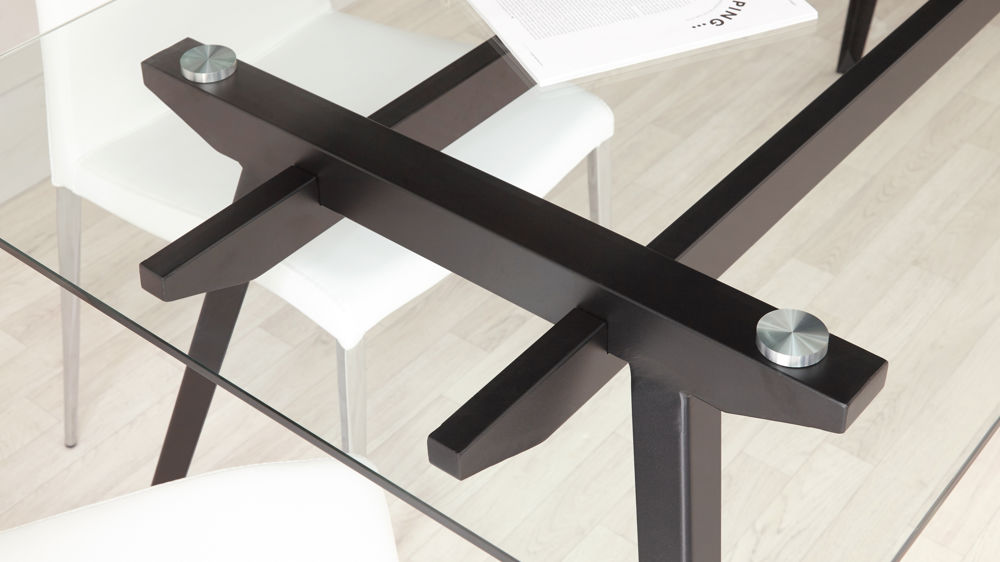 Seater Glass Dining Table Black Powder Coated Legs - Glass top dining table seats 6