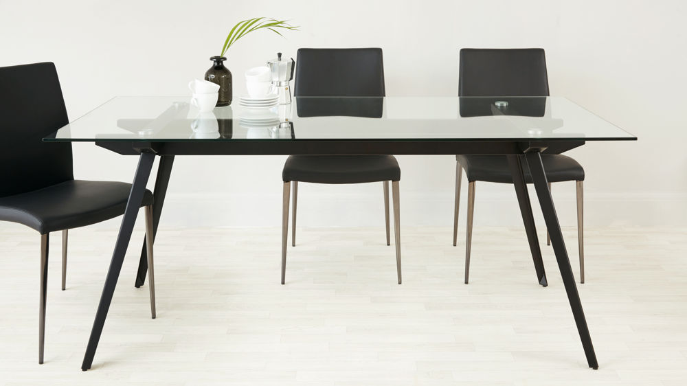 contemporary black glass dining set UK delivery seats 6