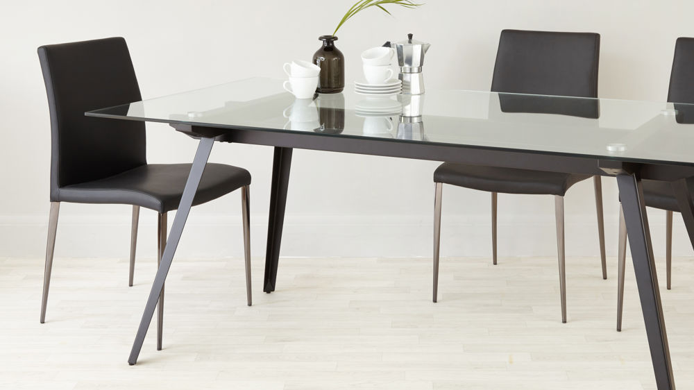 Good Contemporary Black Glass Dining Set UK Delivery Seats 8