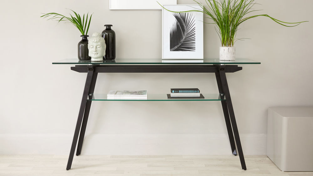 Modern Glass Console Table with Shelf