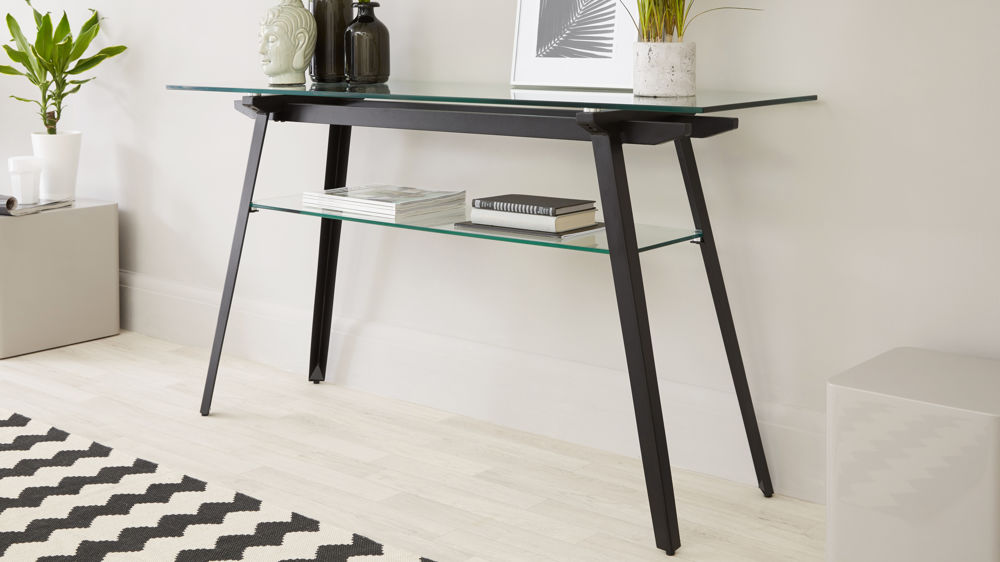 Modern Glass Console Table with Storage