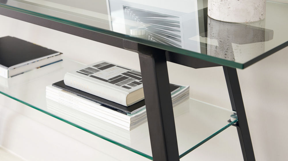 Monochrome Glass Console Table with Storage