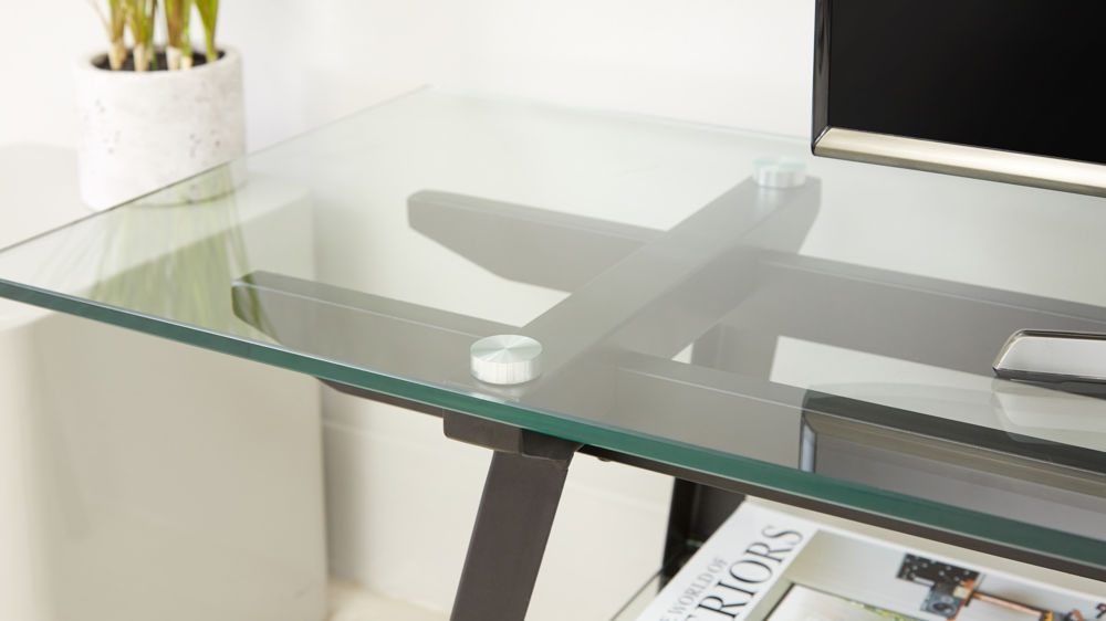 Glass Tv Table Black Steel Legs Uk Delivery