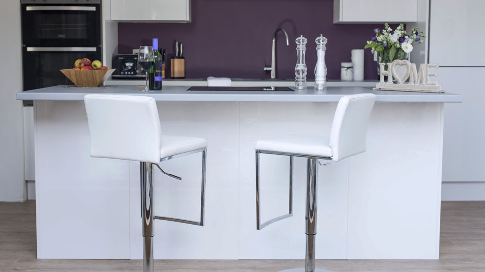 Modern White Bar Stools with Chrome Pedestal Base